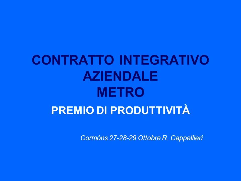 CONTRATTO INTEGRATIVO AZIENDALE METRO PREMIO DI PRODUTTIVITÀ Cormòns 27-28-29 Ottobre R. Cappellieri