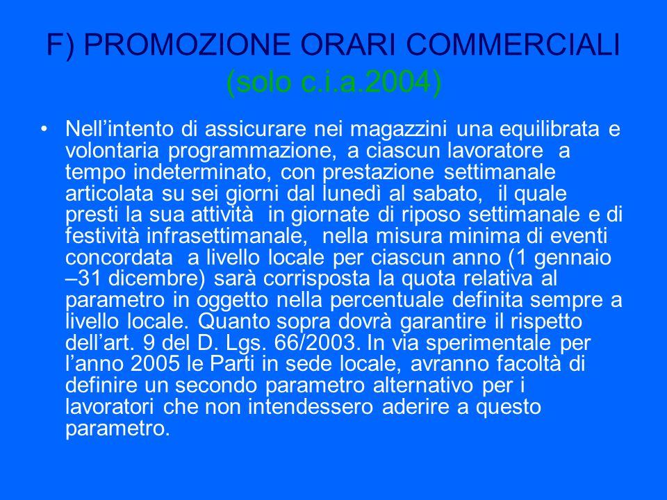 F) PROMOZIONE ORARI COMMERCIALI (solo c.i.a.2004) Nellintento di assicurare nei magazzini una equilibrata e volontaria programmazione, a ciascun lavor