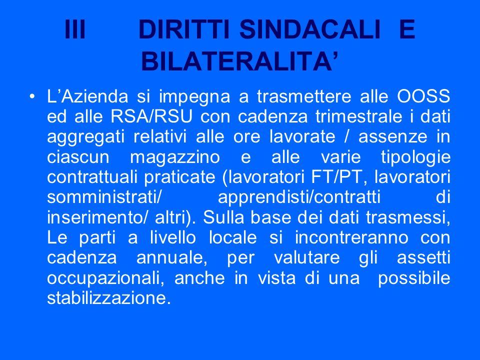 III DIRITTI SINDACALI E BILATERALITA LAzienda si impegna a trasmettere alle OOSS ed alle RSA/RSU con cadenza trimestrale i dati aggregati relativi all