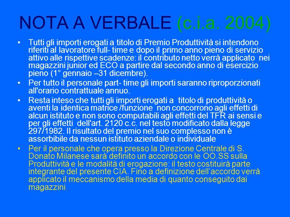 NOTA A VERBALE (c.i.a. 2004) Tutti gli importi erogati a titolo di Premio Produttività si intendono riferiti al lavoratore full- time e dopo il primo