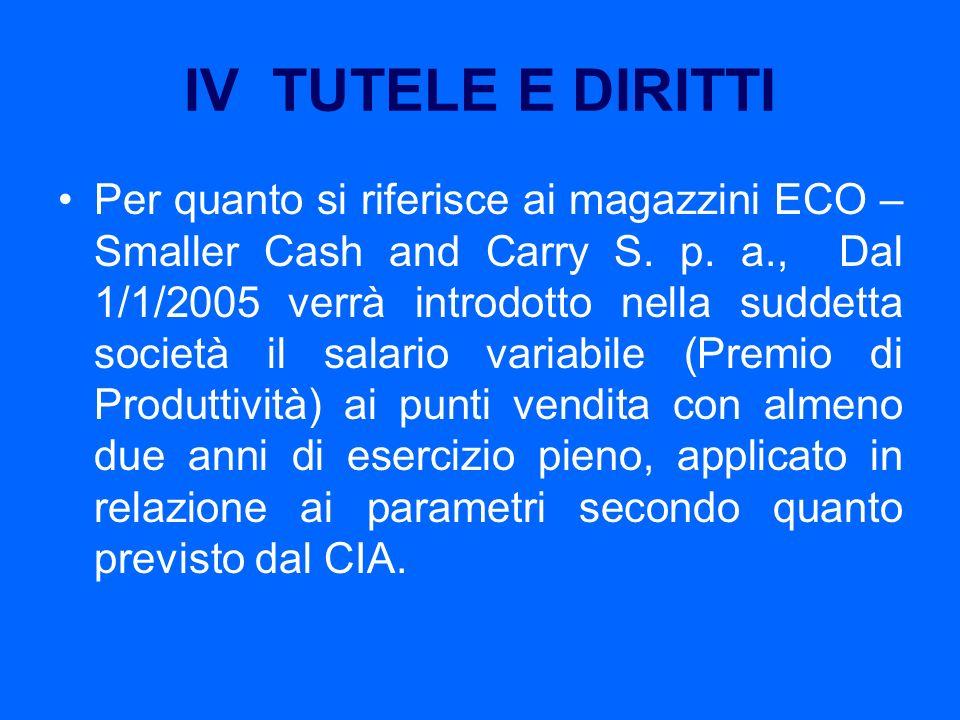 IV TUTELE E DIRITTI Per quanto si riferisce ai magazzini ECO – Smaller Cash and Carry S. p. a., Dal 1/1/2005 verrà introdotto nella suddetta società i