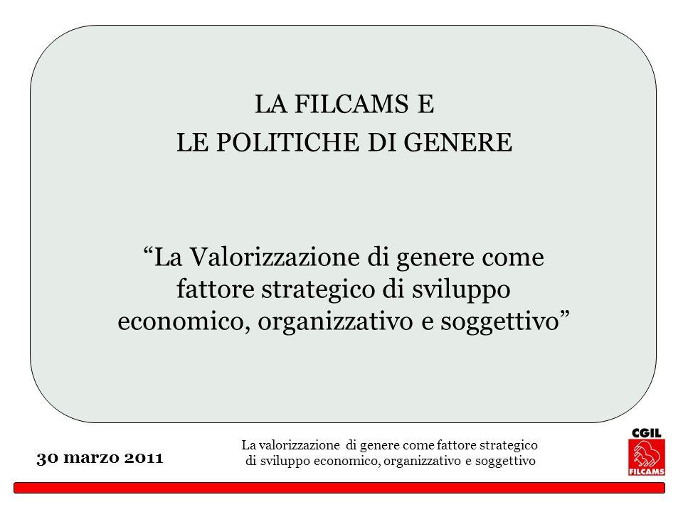 La valorizzazione di genere come fattore strategico di sviluppo economico, organizzativo e soggettivo 30 marzo 2011 LA FILCAMS E LE POLITICHE DI GENER