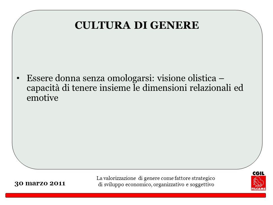 La valorizzazione di genere come fattore strategico di sviluppo economico, organizzativo e soggettivo 30 marzo 2011 CULTURA DI GENERE Essere donna sen