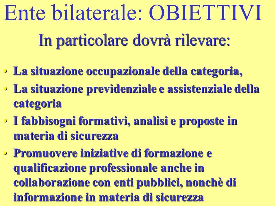 Ente bilaterale: OBIETTIVI In particolare dovrà rilevare: La situazione occupazionale della categoria,La situazione occupazionale della categoria, Le