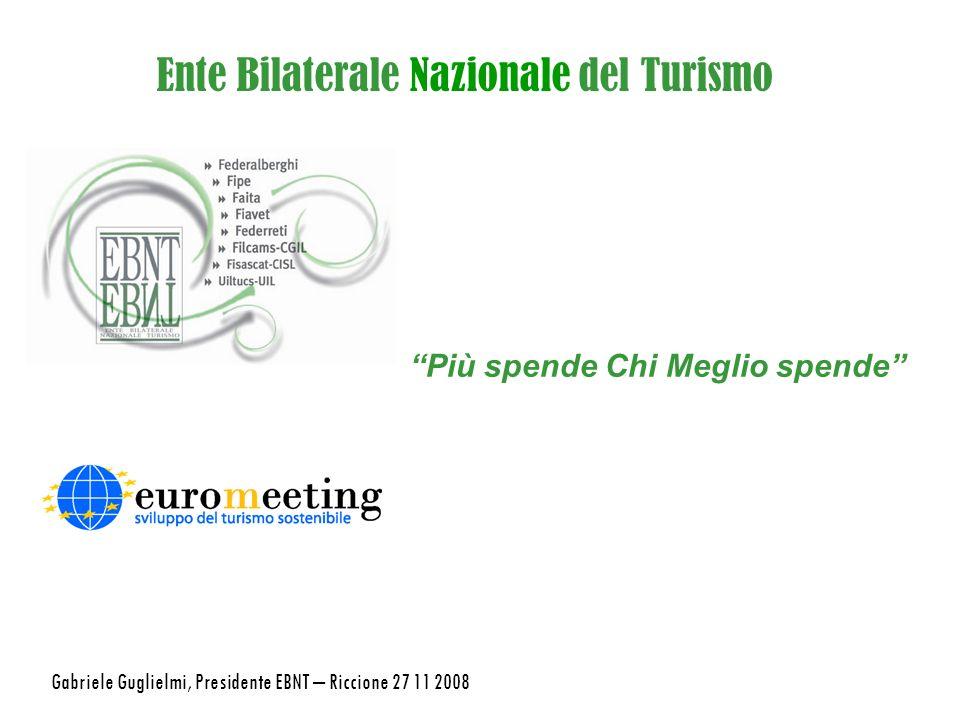 Ente Bilaterale Nazionale del Turismo Più spende Chi Meglio spende Gabriele Guglielmi, Presidente EBNT – Riccione 27 11 2008