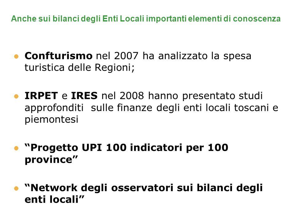 Anche sui bilanci degli Enti Locali importanti elementi di conoscenza Confturismo nel 2007 ha analizzato la spesa turistica delle Regioni; IRPET e IRE