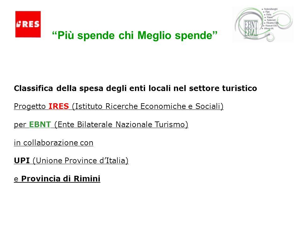 Più spende chi Meglio spende Classifica della spesa degli enti locali nel settore turistico Progetto IRES (Istituto Ricerche Economiche e Sociali) per EBNT (Ente Bilaterale Nazionale Turismo) in collaborazione con UPI (Unione Province dItalia) e Provincia di Rimini