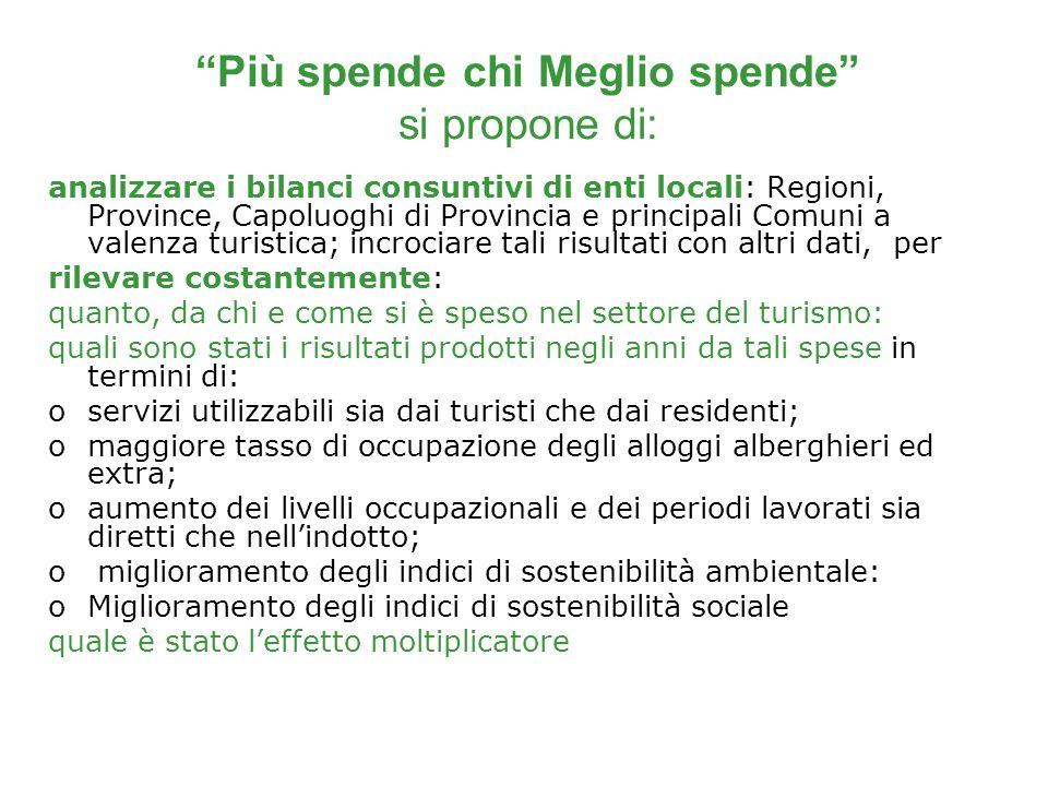 Più spende chi Meglio spende si propone di: analizzare i bilanci consuntivi di enti locali: Regioni, Province, Capoluoghi di Provincia e principali Co
