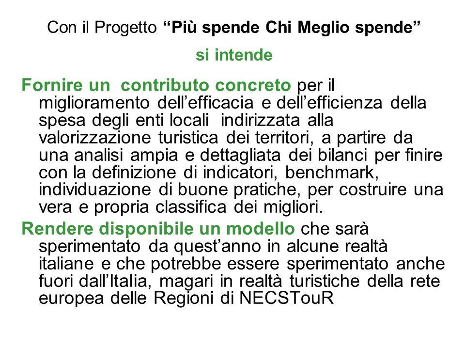 Con il Progetto Più spende Chi Meglio spende si intende Fornire un contributo concreto per il miglioramento dellefficacia e dellefficienza della spesa