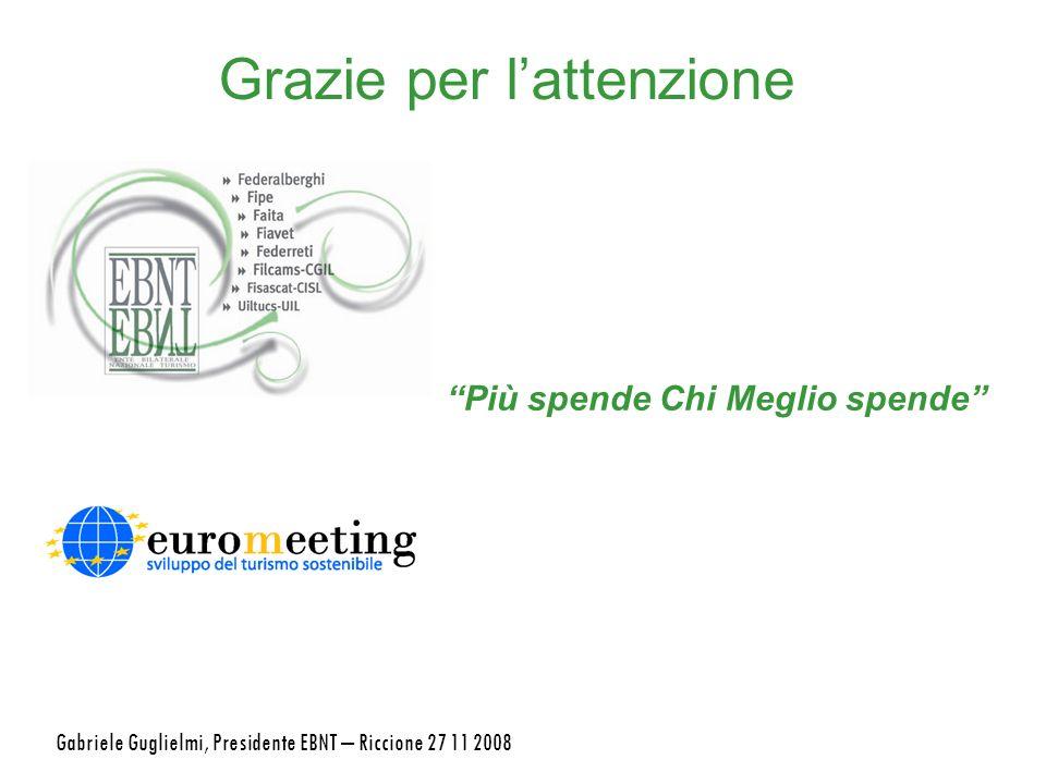 Grazie per lattenzione Più spende Chi Meglio spende Gabriele Guglielmi, Presidente EBNT – Riccione 27 11 2008