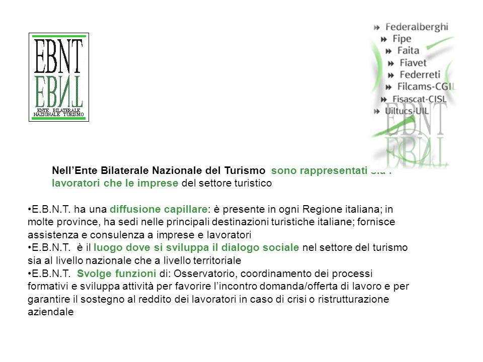 NellEnte Bilaterale Nazionale del Turismo sono rappresentati sia I lavoratori che le imprese del settore turistico E.B.N.T.