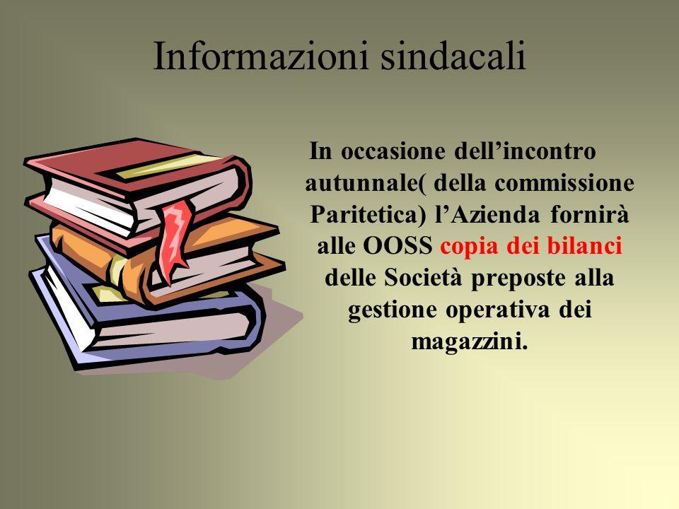 In occasione dellincontro autunnale( della commissione Paritetica) lAzienda fornirà alle OOSS copia dei bilanci delle Società preposte alla gestione operativa dei magazzini.