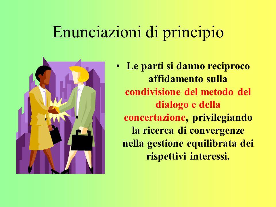 Enunciazioni di principio Le parti si danno reciproco affidamento sulla condivisione del metodo del dialogo e della concertazione, privilegiando la ricerca di convergenze nella gestione equilibrata dei rispettivi interessi.