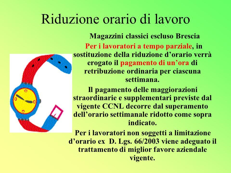 Riduzione orario di lavoro Magazzini classici escluso Brescia Per i lavoratori a tempo parziale, in sostituzione della riduzione dorario verrà erogato il pagamento di unora di retribuzione ordinaria per ciascuna settimana.