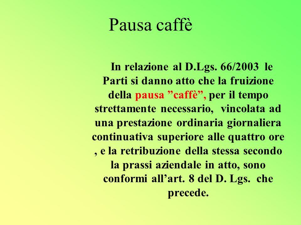 Pausa caffè In relazione al D.Lgs.
