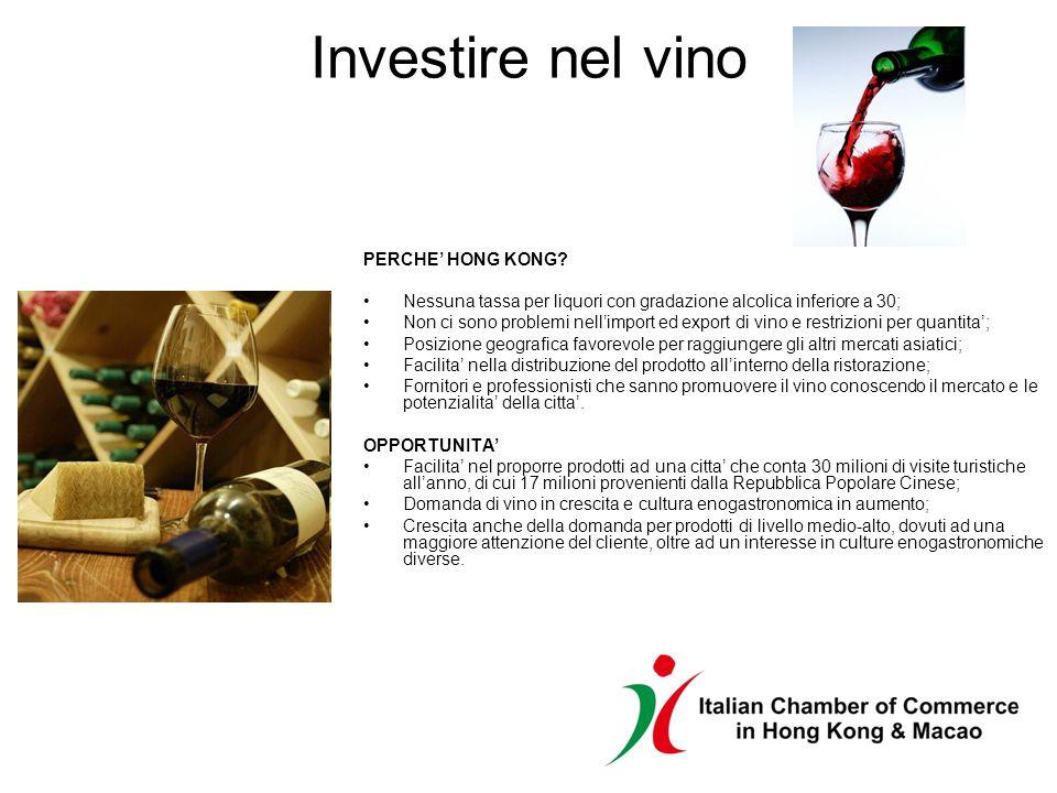 Investire nel vino PERCHE HONG KONG? Nessuna tassa per liquori con gradazione alcolica inferiore a 30; Non ci sono problemi nellimport ed export di vi