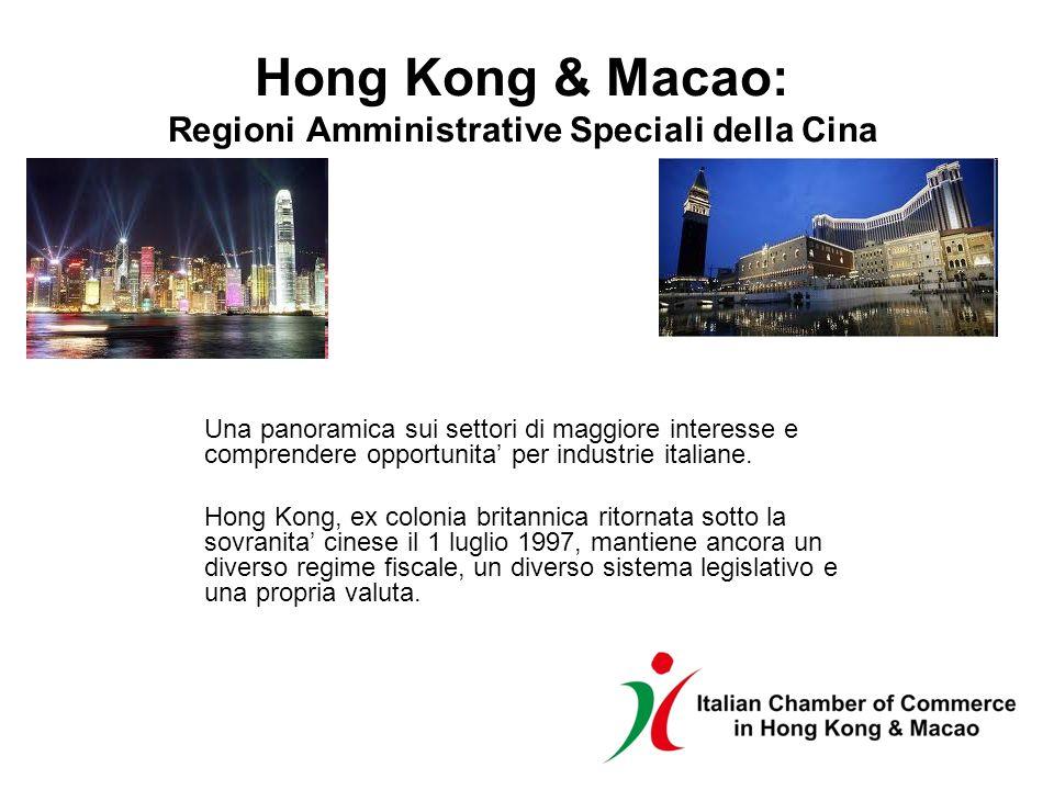 Hong Kong & Macao: Regioni Amministrative Speciali della Cina Una panoramica sui settori di maggiore interesse e comprendere opportunita per industrie italiane.