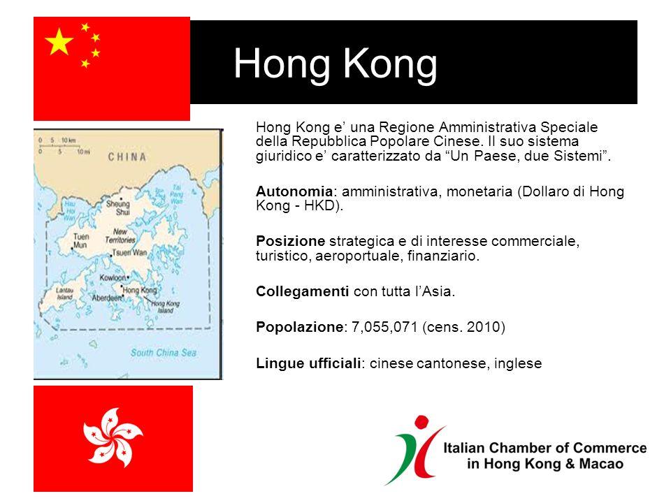 Hong Kong Hong Kong e una Regione Amministrativa Speciale della Repubblica Popolare Cinese.