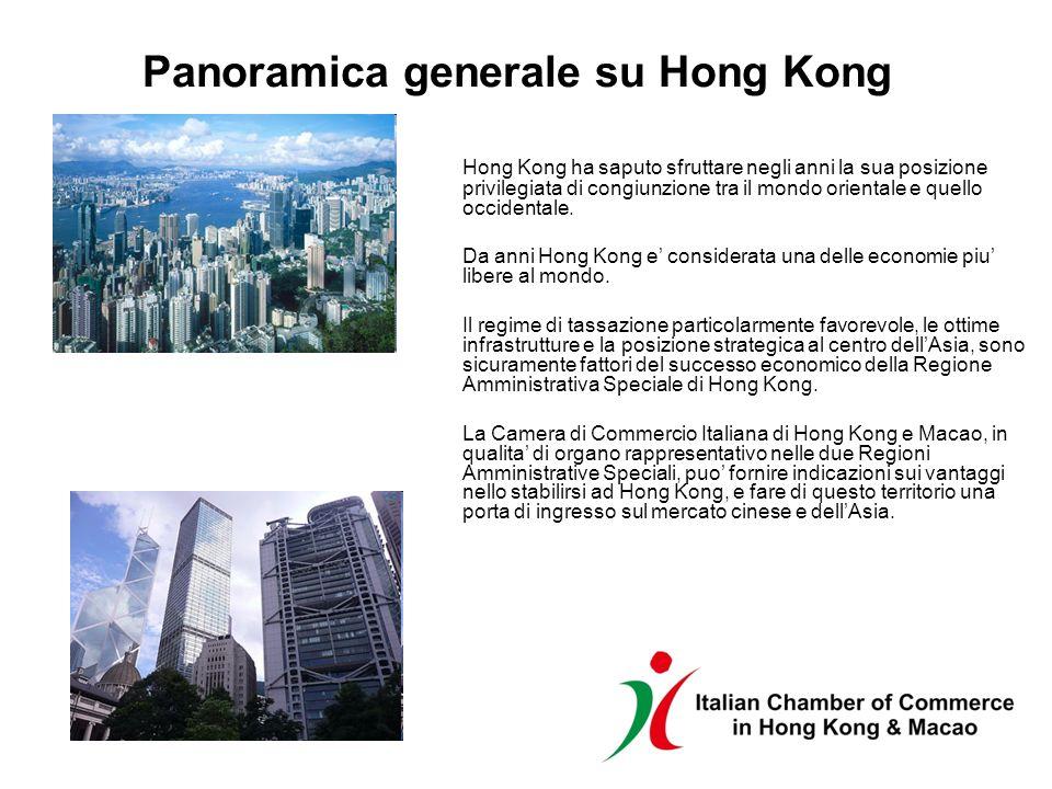 Panoramica generale su Hong Kong Hong Kong ha saputo sfruttare negli anni la sua posizione privilegiata di congiunzione tra il mondo orientale e quell