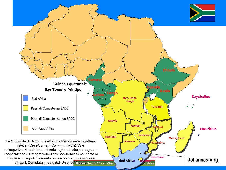 Sud Africa: peso % dei settori economici in rapporto al PIL (valore aggiunto) (Gennaio-Giugno 2010 ai prezzi 2005)