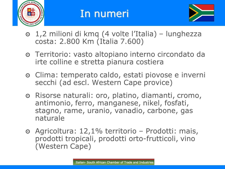 Importante fonte di entrate valutarie Il Sudafrica possiede l80% delle risorse mondiali di manganese, il 56% di platino, il 35% di oro e il 68% di cromo Nel 2008 i metalli preziosi hanno rappresentato ca.