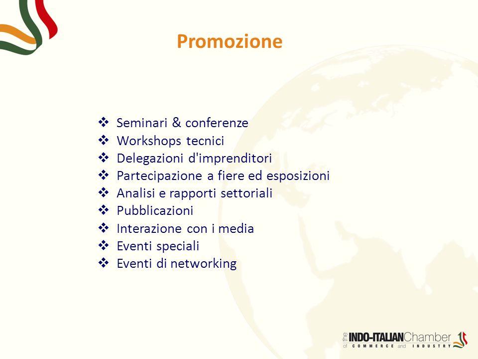 Promozione Seminari & conferenze Workshops tecnici Delegazioni d'imprenditori Partecipazione a fiere ed esposizioni Analisi e rapporti settoriali Pubb