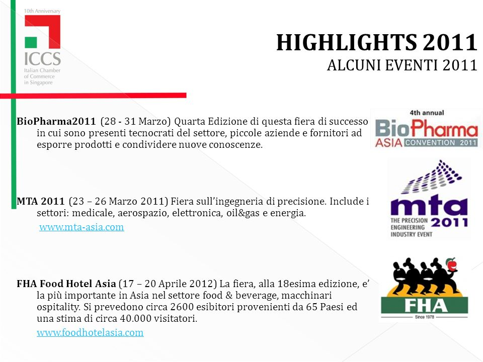 HIGHLIGHTS 2011 ALCUNI EVENTI 2011 BioPharma2011 (28 - 31 Marzo) Quarta Edizione di questa fiera di successo in cui sono presenti tecnocrati del settore, piccole aziende e fornitori ad esporre prodotti e condividere nuove conoscenze.