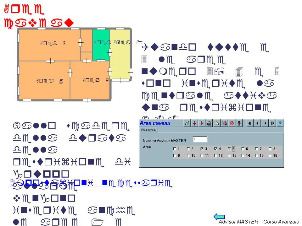 Advisor MASTER – Corso Avanzato Collegame nti aree Quando le aree dalla 1 alla 5 sono tutte inserite la centrale inserisce larea 6. Al disinserimento
