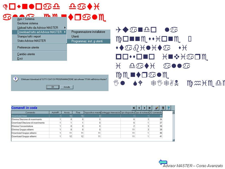 Advisor MASTER – Corso Avanzato Upload dati dalla centrale Quando la connessione è stabilita si possono prelevare i dati dalla centrale Il SW TITAN ch