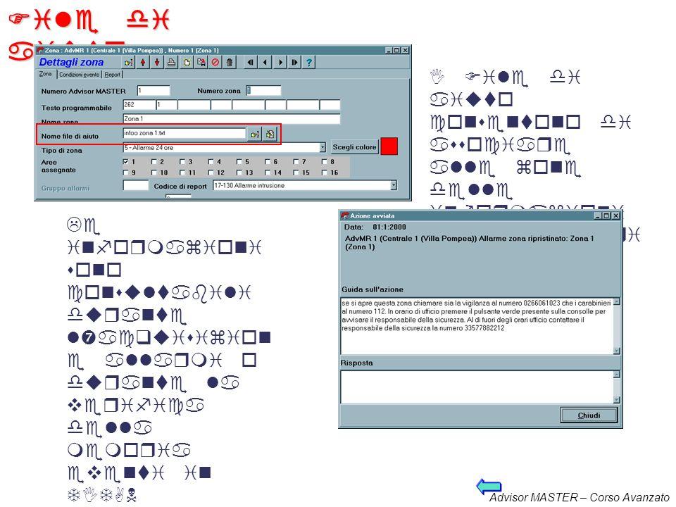 Advisor MASTER – Corso Avanzato Funzioni per loperatore Istruzioni ulteriori per loperatore: Vengono introdotte creando i file di aiuto (.txt) che pos