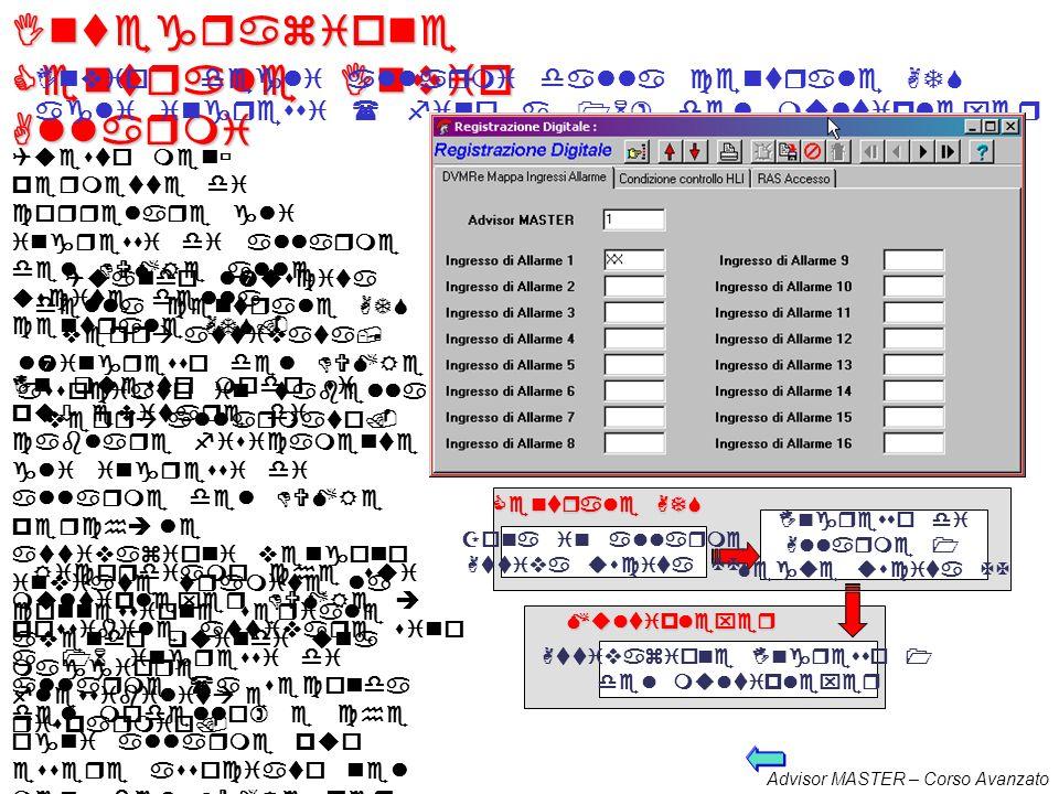 Advisor MASTER – Corso Avanzato Integrazione Centrale/DVMRe 2 Le funzioni disponibili sono: Invio degli allarmi da parte della centrale ATS agli ingre