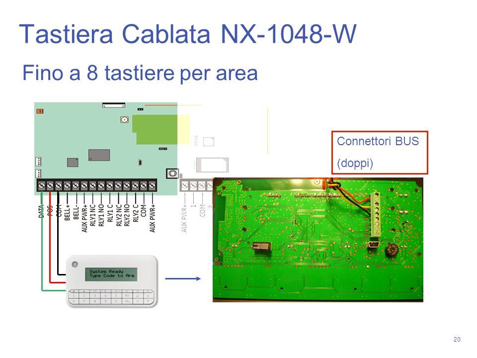 20 Tastiera Cablata NX-1048-W Fino a 8 tastiere per area Connettori BUS (doppi)