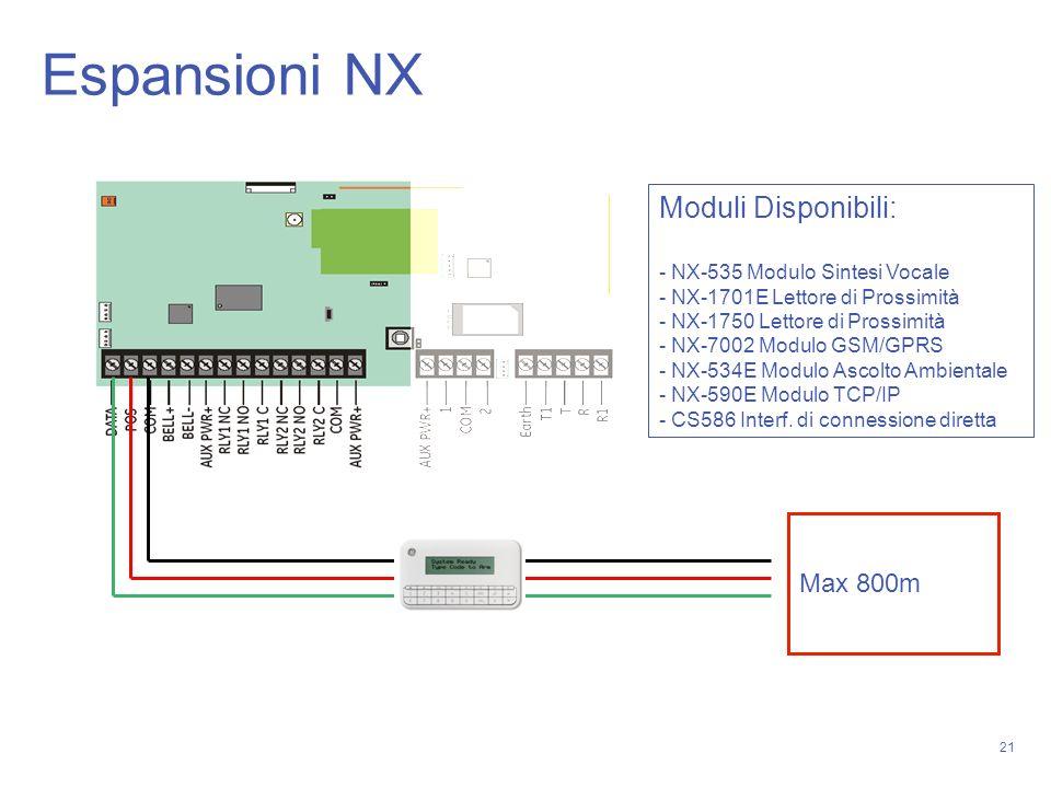 21 Max 800m Moduli Disponibili: - NX-535 Modulo Sintesi Vocale - NX-1701E Lettore di Prossimità - NX-1750 Lettore di Prossimità - NX-7002 Modulo GSM/G