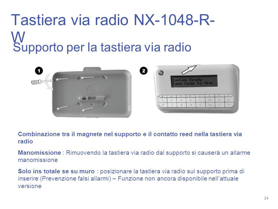 24 Combinazione tra il magnete nel supporto e il contatto reed nella tastiera via radio Manomissione : Rimuovendo la tastiera via radio dal supporto s