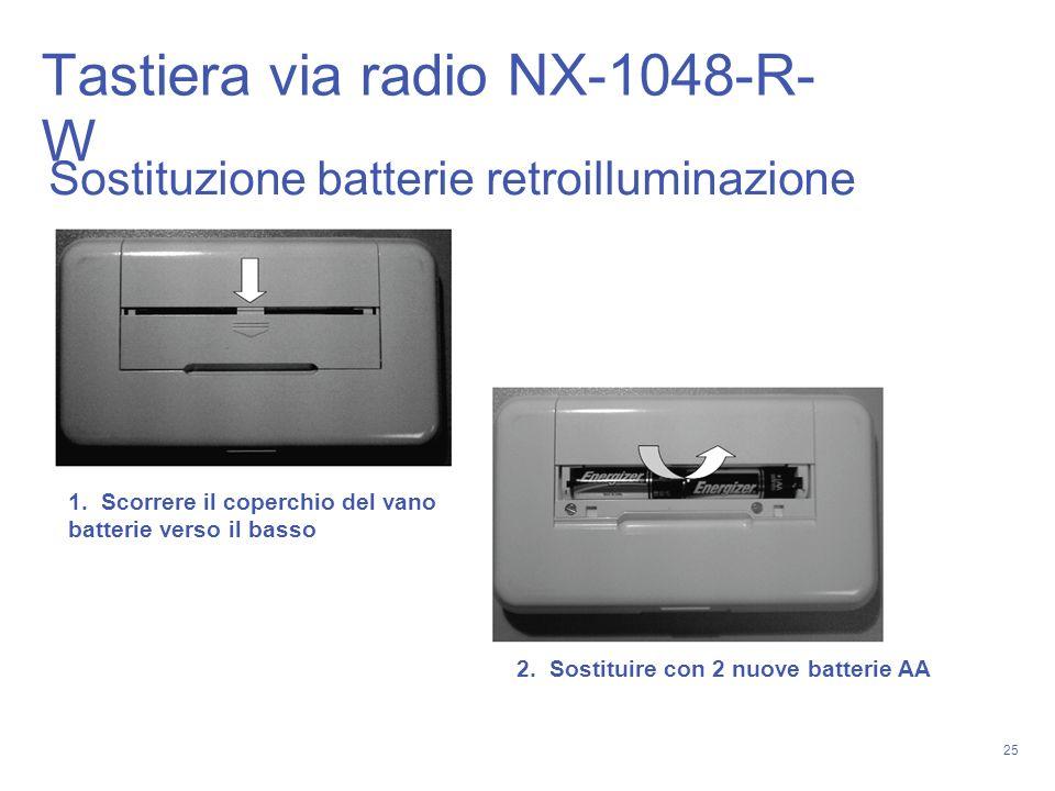 25 Sostituzione batterie retroilluminazione 1. Scorrere il coperchio del vano batterie verso il basso 2. Sostituire con 2 nuove batterie AA Tastiera v