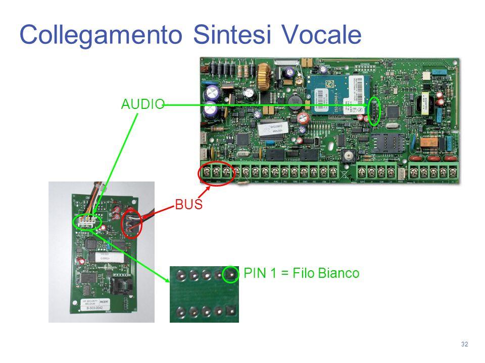 32 Collegamento Sintesi Vocale BUS AUDIO PIN 1 = Filo Bianco