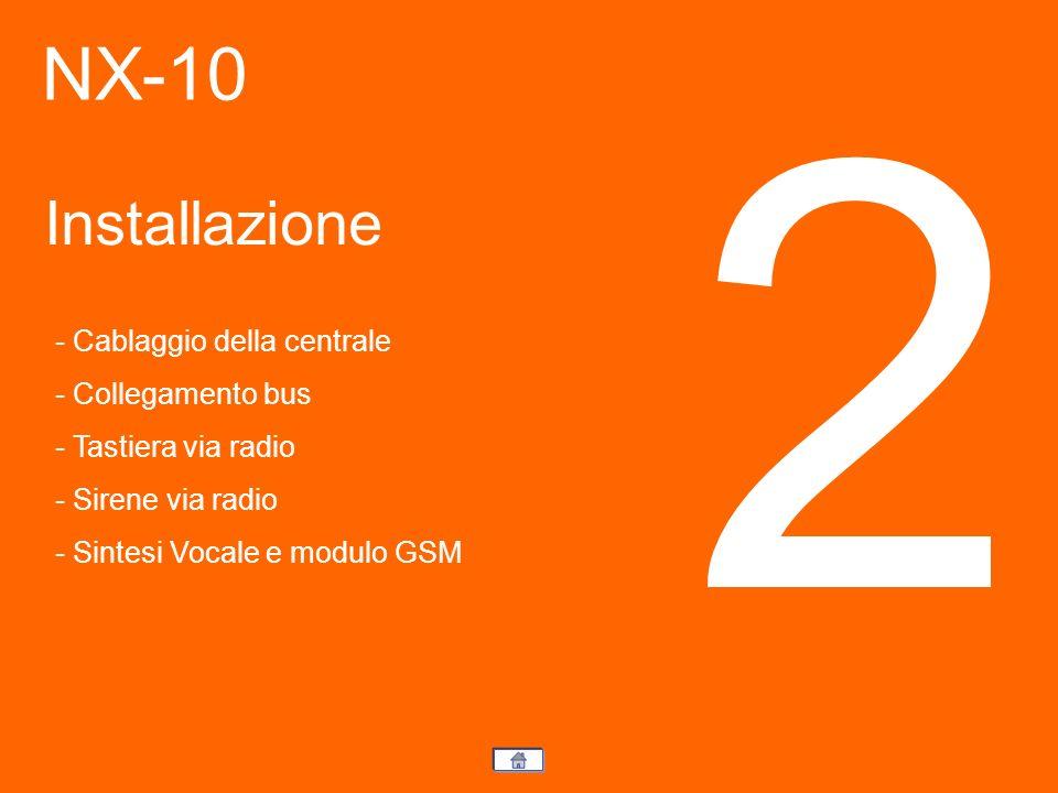 NX-10 Installazione 2 - Cablaggio della centrale - Collegamento bus - Tastiera via radio - Sirene via radio - Sintesi Vocale e modulo GSM