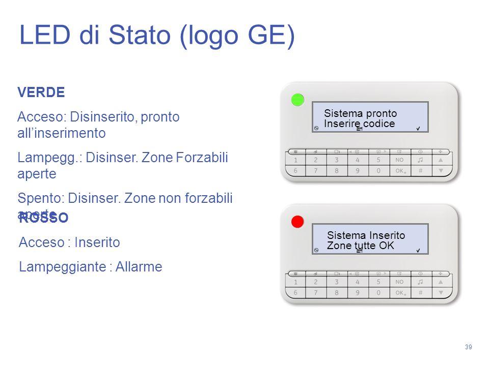 39 Sistema pronto Inserire codice Sistema Inserito Zone tutte OK VERDE Acceso: Disinserito, pronto allinserimento Lampegg.: Disinser. Zone Forzabili a