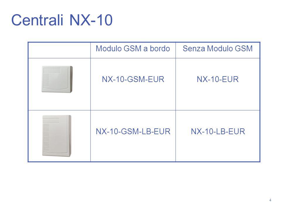 4 Centrali NX-10 Modulo GSM a bordoSenza Modulo GSM NX-10-GSM-EURNX-10-EUR NX-10-GSM-LB-EURNX-10-LB-EUR