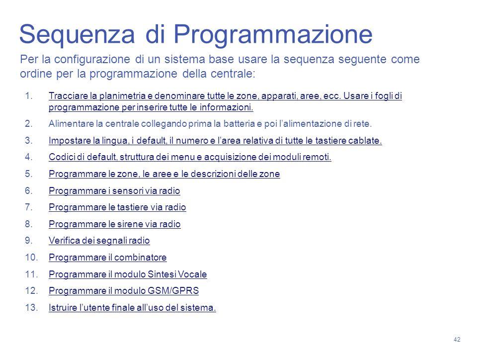 42 Sequenza di Programmazione Per la configurazione di un sistema base usare la sequenza seguente come ordine per la programmazione della centrale: 1.