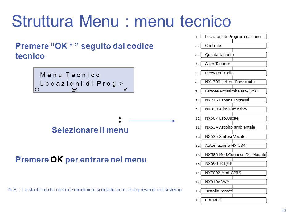 50 Premere OK * seguito dal codice tecnico Selezionare il menu Premere OK per entrare nel menu M e n u T e c n i c o L o c a z i o n i d i P r o g > N