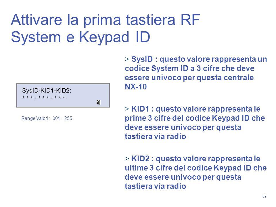 62 SysID-KID1-KID2: * * * - * * * - * * * SysID : questo valore rappresenta un codice System ID a 3 cifre che deve essere univoco per questa centrale