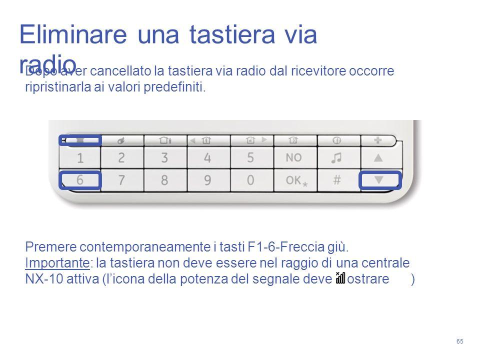 65 Eliminare una tastiera via radio Dopo aver cancellato la tastiera via radio dal ricevitore occorre ripristinarla ai valori predefiniti. Premere con