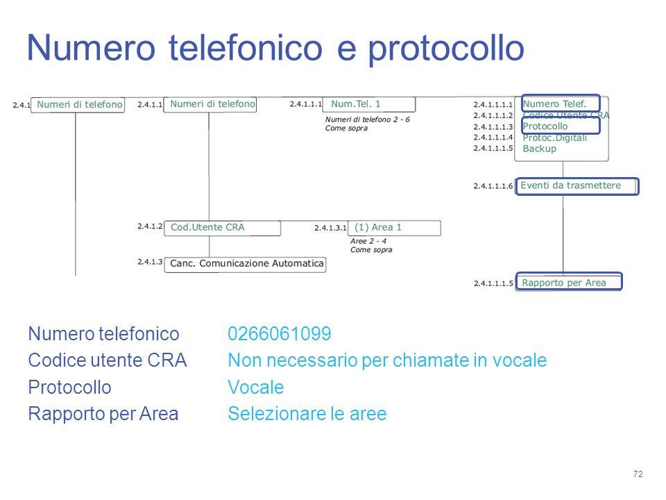72 Numero telefonico e protocollo Numero telefonico 0266061099 Codice utente CRA Non necessario per chiamate in vocale Protocollo Vocale Rapporto per