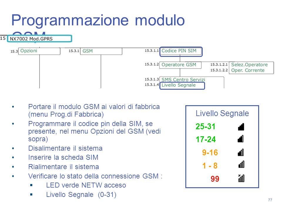 77 Programmazione modulo GSM Portare il modulo GSM ai valori di fabbrica (menu Prog.di Fabbrica) Programmare il codice pin della SIM, se presente, nel