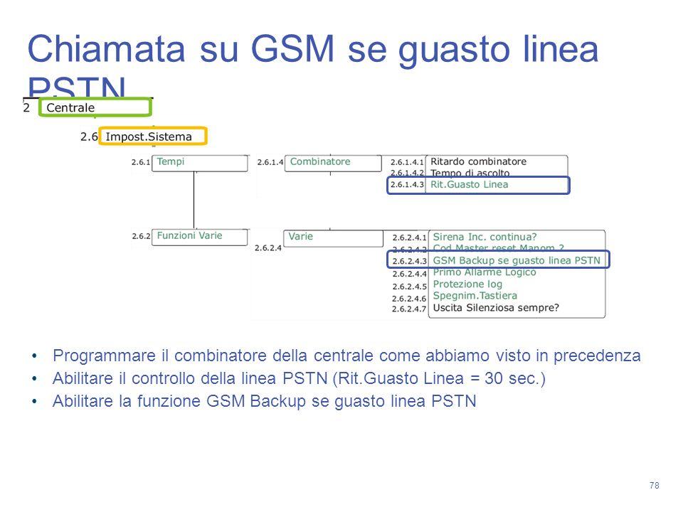 78 Chiamata su GSM se guasto linea PSTN Programmare il combinatore della centrale come abbiamo visto in precedenza Abilitare il controllo della linea