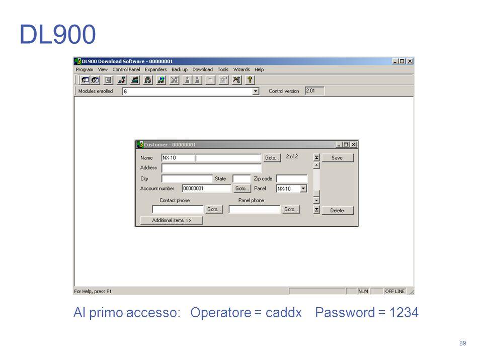 89 DL900 Al primo accesso: Operatore = caddxPassword = 1234