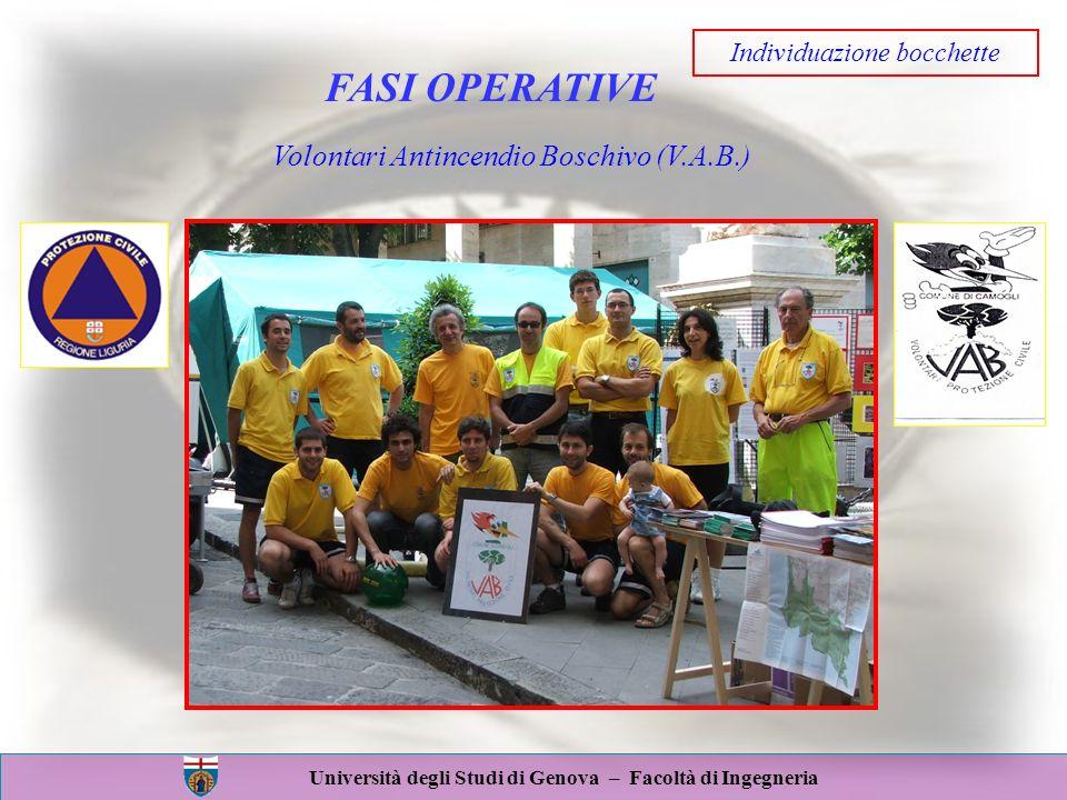 Università degli Studi di Genova – Facoltà di Ingegneria FASI OPERATIVE Volontari Antincendio Boschivo (V.A.B.) Individuazione bocchette