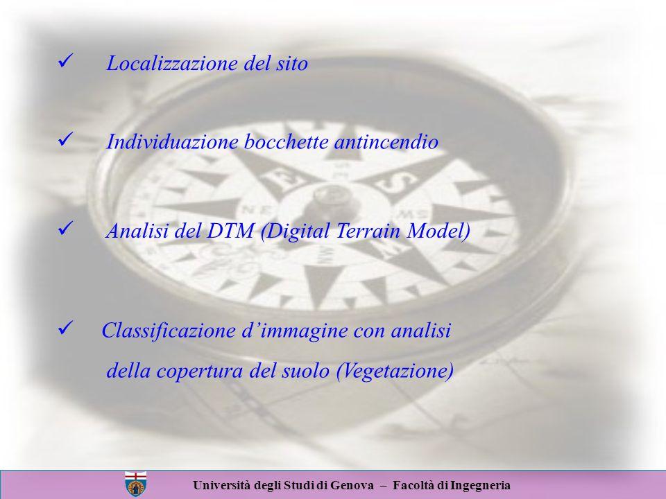 Università degli Studi di Genova – Facoltà di Ingegneria Localizzazione del sito Individuazione bocchette antincendio Analisi del DTM (Digital Terrain