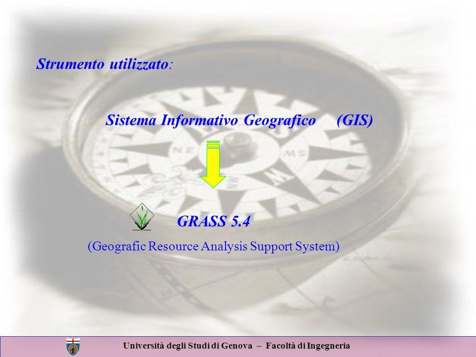 Università degli Studi di Genova – Facoltà di Ingegneria GRASS 5.4 (Geografic Resource Analysis Support System) Sistema Informativo Geografico (GIS) S